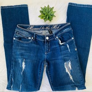 Married to the Mob Ripped Straight Leg Jean Sz 28
